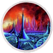The Enneanoveum Round Beach Towel by James Christopher Hill