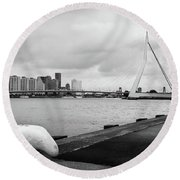 Round Beach Towel featuring the photograph The Erasmus Bridge In Rotterdam Bw by RicardMN Photography