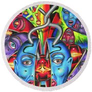 The Esoteric Force Of Molecular Mentality Round Beach Towel