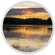 The Evening Came Softly With The Sunset Round Beach Towel