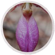 Round Beach Towel featuring the photograph The Ever So Rare Ladyslipper by Brenda Jacobs