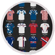 Round Beach Towel featuring the digital art The Evolution Of The Us World Cup Soccer Jersey by Taylan Apukovska