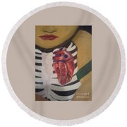 The Exposed Heart Of An Angel Round Beach Towel