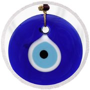 The Eye Against Evil Eye Round Beach Towel