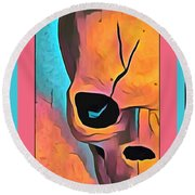 Round Beach Towel featuring the digital art The Eye Of Death Abstract Skull by Floyd Snyder