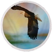 The Eye Of The Eagle Round Beach Towel