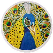 The Eye Of The Peacock Round Beach Towel by Margaret Harmon
