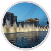 The Fabulous Fountains At Bellagio - Las Vegas Round Beach Towel