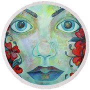 The Face Of Persephone I Round Beach Towel