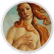 The Face Of Venus Round Beach Towel