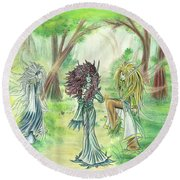 The Fae - Sylvan Creatures Of The Forest Round Beach Towel