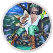 The Faery King Round Beach Towel by Diana Haronis