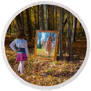 The Fairy In The Mirror Round Beach Towel