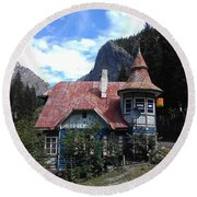 The Fairy Tale House  Round Beach Towel