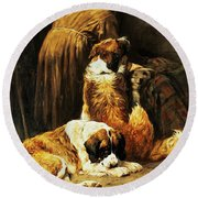 The Faith Of Saint Bernard Round Beach Towel