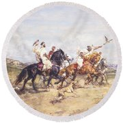 The Falcon Chase Round Beach Towel by Henri Emilien Rousseau