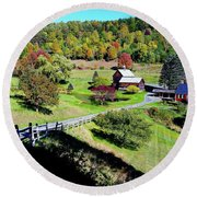 The Fall Colors Of Sleepy Hollow Round Beach Towel by Joseph Hendrix