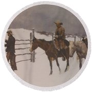 The Fall Of The Cowboy Round Beach Towel by Frederic Remington