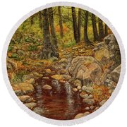 Round Beach Towel featuring the painting The Fall Stream by Roena King