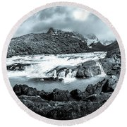 The Falls In Black And White Round Beach Towel by Andrew Matwijec