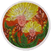 Family Round Beach Towel by Rita Fetisov