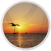 The Famous Key West Sunset  Round Beach Towel