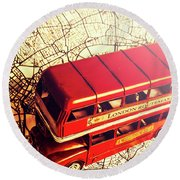 The Famous Red Bus Round Beach Towel