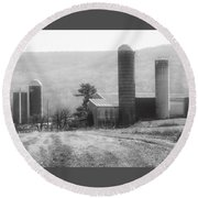 Round Beach Towel featuring the photograph The Farm-after Harvest by Robin Regan