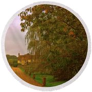 Round Beach Towel featuring the photograph The Farm In Autumn by Anne Kotan