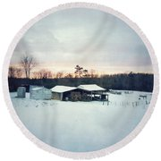 The Farm In Snow At Sunset Round Beach Towel