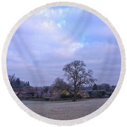 Round Beach Towel featuring the photograph The Farm In Winter by Anne Kotan