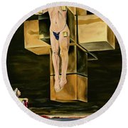 The Father Is Present -after Dali- Round Beach Towel