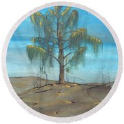 The Feather Tree Round Beach Towel by Pat Purdy