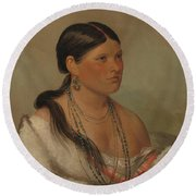 The Female Eagle, Shawano, 1830 Round Beach Towel