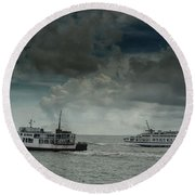 The Ferries Round Beach Towel by Michelle Meenawong