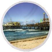 The Ferris Wheel - Santa Monica Pier Round Beach Towel