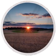 Round Beach Towel featuring the photograph The Fields At Sunset by Mark Dodd