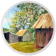 Round Beach Towel featuring the painting The Field's Farm by Jim Phillips