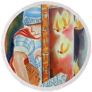 Round Beach Towel featuring the painting The Fiery Darts Of The Evil One 3 by Kip DeVore