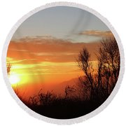 The Fire Of Sunset Round Beach Towel