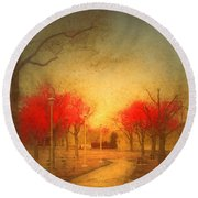 The Fire Trees Round Beach Towel