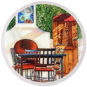 The Fireplace, Table And Door Round Beach Towel