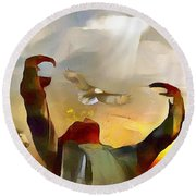 The First Americans - The Great Spirit Round Beach Towel