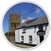 Round Beach Towel featuring the photograph The First And Last Inn In England by Terri Waters