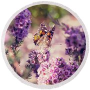 Round Beach Towel featuring the photograph The First Day Of Summer by Linda Lees