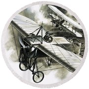 The First Reconnaissance Flight By The Rfc Round Beach Towel