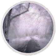 The First Snow Of December Round Beach Towel