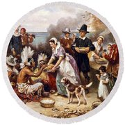 The First Thanksgiving Round Beach Towel