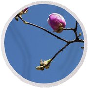 The First To Bloom Round Beach Towel