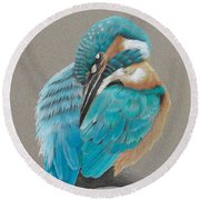 Round Beach Towel featuring the drawing The Fisherking by Gary Stamp